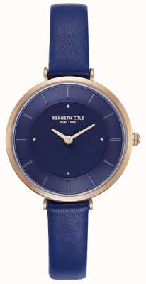Kenneth Cole Pulseira de couro azul das senhoras relógio com mostrador azul KC50306005