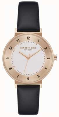 Kenneth Cole Senhoras pulseira de couro preto relógio com mostrador branco KC50075003