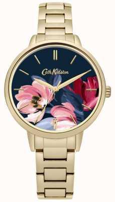 Cath Kidston Dial impresso floral do bracelete do tom do ouro das mulheres CKL050GM