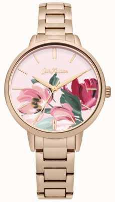 Cath Kidston Dial impresso floral do bracelete goldtone cor-de-rosa das mulheres CKL050RGM