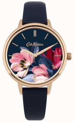 Cath Kidston Mostrador floral do relógio da correia da marinha das mulheres CKL050URG