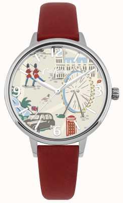 Cath Kidston Womens pulseira de couro vermelho london mapa impresso mostrador do relógio CKL053R