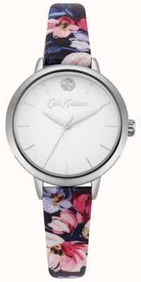 Cath Kidston Marinha feminina floral impresso pulseira mostrador branco CKL064U