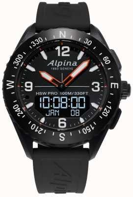 Alpina Alpinerx smartwatch pulseira de borracha preta AL-283LBB5AQ6