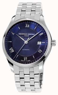 Frederique Constant Bracelete de aço inoxidável com mostrador azul FC-303MN5B6B