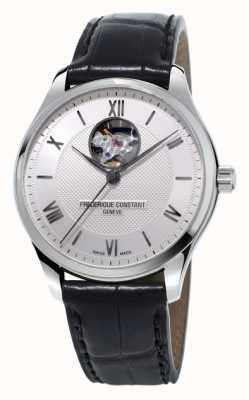 Frederique Constant Bracelete clássico de couro preto de coração aberto para homem FC-310MS5B6