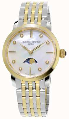 Frederique Constant Bracelete slimline moonphase quartzo tom de duas mulheres FC-206MPWD1S3B