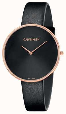 Calvin Klein Womens full moon pulseira de couro preto rosa de ouro K8Y236C1