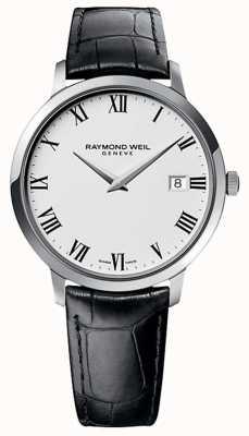 Raymond Weil Mens toccata pulseira de couro preto mostrador branco 5588-STC-00300