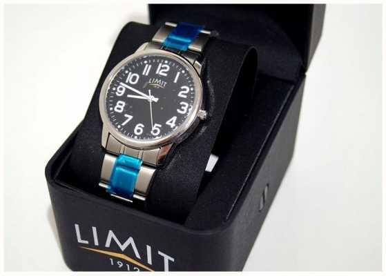 Limit | mens | mostrador preto | pulseira de aço inoxidável | 5648