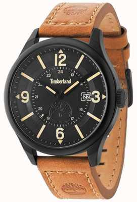 Timberland Mens blake pulseira de couro marrom caso preto e discar TBL.14645JSB/02
