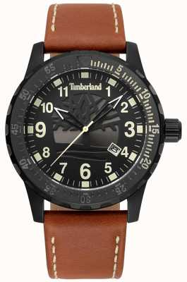Timberland Clarksburg pulseira de couro marrom e mostrador preto TBL.15473JLB/02