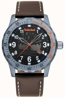 Timberland Mens clarksburg pulseira de couro marrom escuro mostrador preto TBL.15473JLU/02