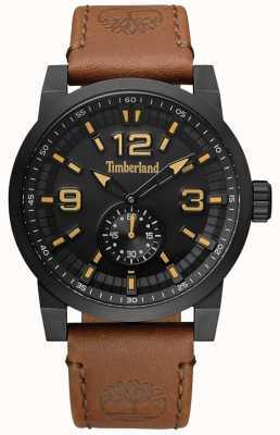 Timberland Mens duxbury pulseira de couro camelo mostrador preto e caso TBL.15475JSB/02