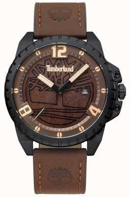 Timberland Mens eastford marrom escuro couro preto caso marrom madeira dial TBL.15513JSB/12