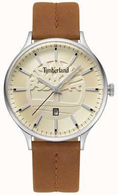 Timberland Mens marblehead tan pulseira de couro bege dial TBL.15488JS/07