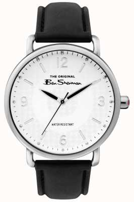 Ben Sherman Mens matt white dial preto cinta caixa de aço prata BS015B