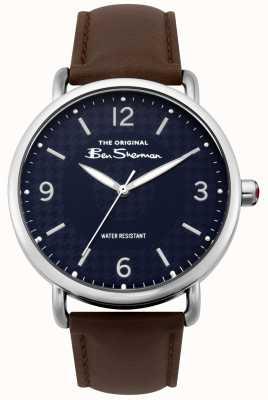 Ben Sherman Ben sherman matt navy dial marrom escuro pulseira de aço de prata BS015BR