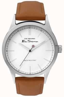 Ben Sherman Mens matt white dial tan cinta caixa de aço prata BS016T