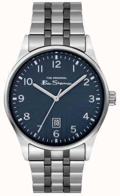 Ben Sherman Mens matt white dial prata caso pulseira de aço inoxidável BS017USM