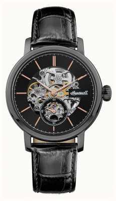 Ingersoll Mens a pulseira de couro preto de discagem automática preta smith I05705