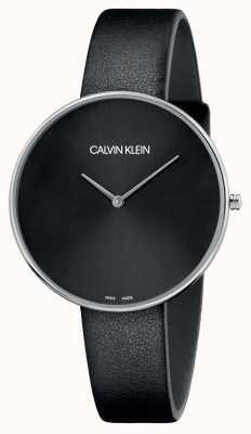 Calvin Klein Ladies full moon mostrador preto de couro preto K8Y231C1