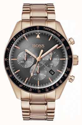 Hugo Boss Relógio Mens Troféu cronógrafo cinza dial rosa tom de ouro 1513632