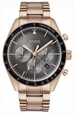 BOSS Mens troféu relógio cinza cronógrafo mostrador tom de ouro rosa 1513632