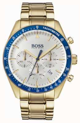 Boss Mens troféu relógio branco cronógrafo dial ouro tom 1513631