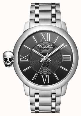 Thomas Sabo Mens rebelde com relógio de crânio de aço inoxidável de carma WA0304-201-203