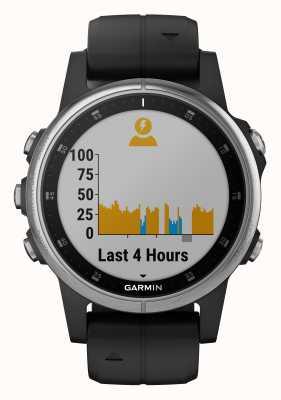 Garmin Fenix 5s mais alça de borracha preta de aro de prata 010-01987-21