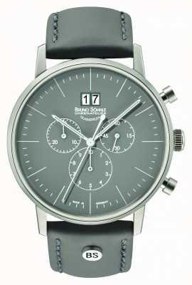 Bruno Sohnle Mens stuttgart chrono 42mm cinza com pulseira de couro 17-13177-841