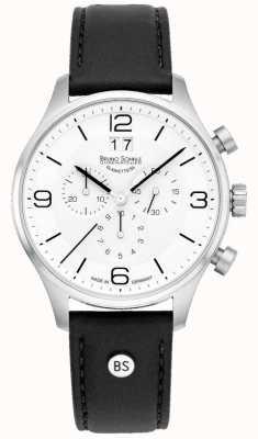 Bruno Sohnle Mens padua 42 milímetros cronógrafo mostrador branco pulseira de couro preto 17-13196-921