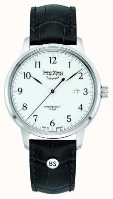 Bruno Sohnle Mens hamburg grande quartzo branco mostrador pulseira de couro preto 17-13201-921