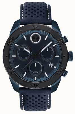 Movado Mens corajosa chronoraph azul pulseira de couro perfurado 3600516