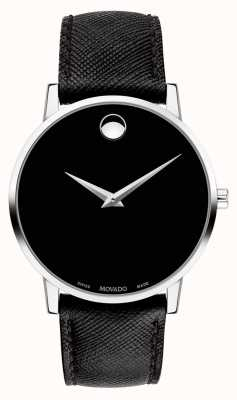 Movado Mens museu pulseira de couro preto mostrador preto 0607194