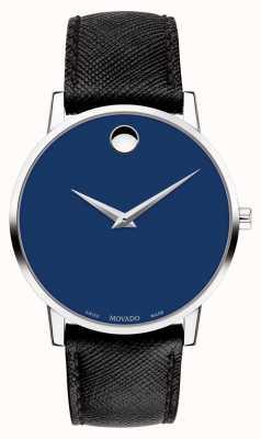 Movado Mens museu azul dial pulseira de couro preto de aço inoxidável 0607197