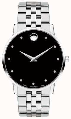 Movado Mens museu diamante conjunto dial pulseira de aço inoxidável 0607201