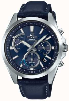 Casio Couro azul do chronograph retrograde solar da safira do edifício EFS-S530L-2AVUEF