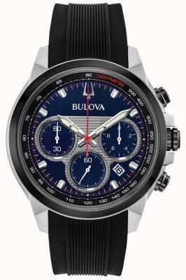 Bulova Cronógrafo dos homens mostrador azul relógio pulseira de borracha preta 98B314