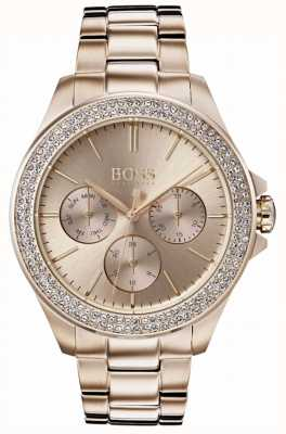Hugo Boss Womens premiere conjunto de cristal banhado a ouro pulseira 1502443