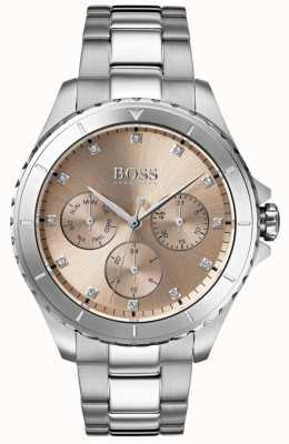 BOSS Bracelete de aço inoxidável com mostrador bronze para mulher 1502444
