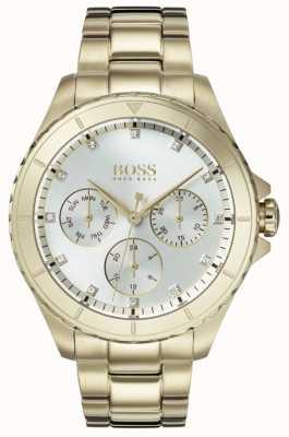 Boss Womens premiere banhado a ouro pulseira de discagem de prata 1502445