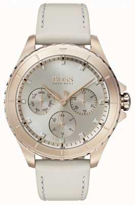 Hugo Boss Womens premiere banhado a ouro pulseira de couro bege 1502447