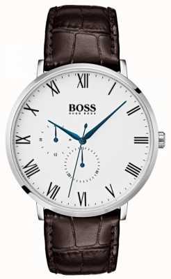 Hugo Boss Men william clássico couro marrom mostrador branco 1513617