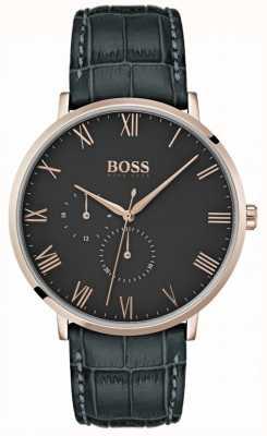 Hugo Boss William clássico couro cinza escuro e mostrador prateado 1513619