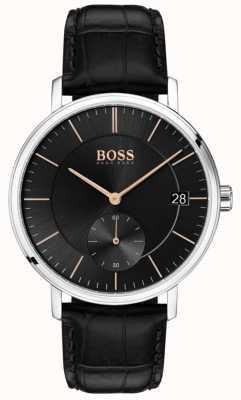 Boss Correia de couro preto dos homens de cabo preto 1513638