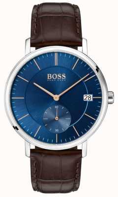 BOSS Mens pulseira de couro marrom corporal mostrador azul 1513639