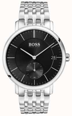 Boss Mostrador preto de aço inoxidável masculino 1513641