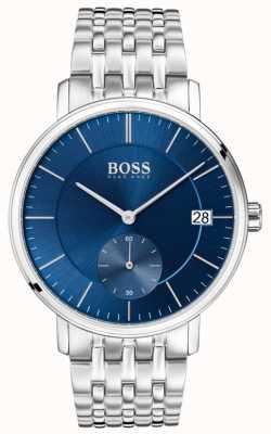 Hugo Boss Mostrador azul de aço inoxidável masculino 1513642